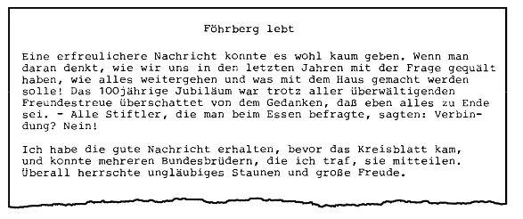 Auszug aus dem Kreisblatt Tübingen 1981: Föhrberg lebt